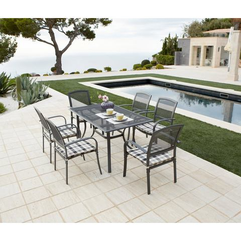 Tuinmeubelset Montreal, 6 stoelen + kussens, tafel, aluminium/textiel, zwart/wit