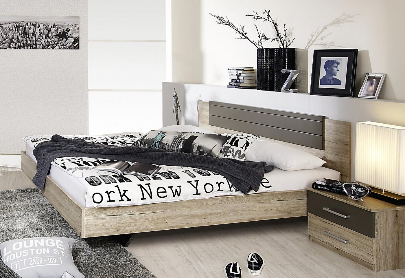 RAUCH Bed in zwevende look als 3-delige set