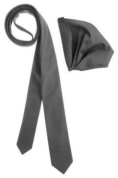bruno banani stropdas inclusief pochet (set, 2 stuks, met pochet) grijs