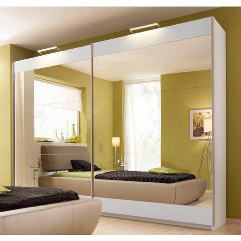 witte zweefdeurkast Rauch met spiegel boven en onder grijsgekleurde spiegelranden 266380