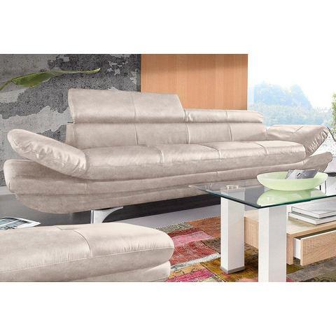 woonkamer driepersoons bankstel beige Luxe imitatieleer COTTA
