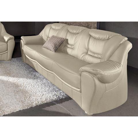 woonkamer driepersoons bankstel beige Luxe imitatieleer SIT en MORE met binnenvering