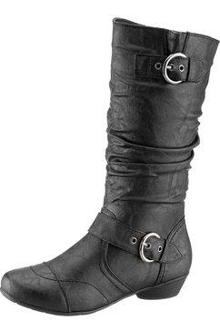 city walk laarzen met dekzool van textiel zwart