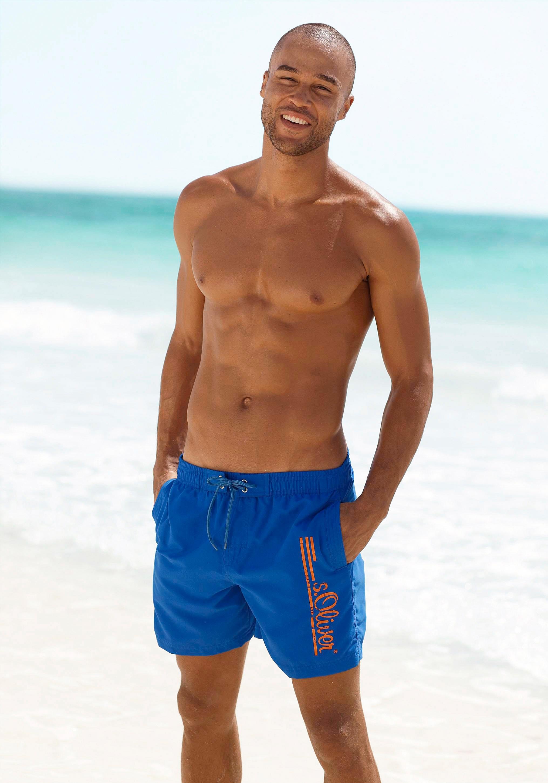 s.Oliver RED LABEL Beachwear Zwemshort met logoprint in used look nu online bestellen