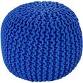 obsession zitkussen my cool poef zithocker, rond, tricot-look (1 stuk) blauw
