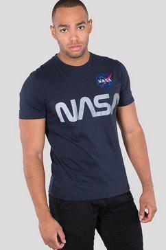 alpha industries shirt met ronde hals »nasa reflective tee« blauw