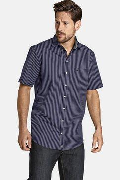 jan vanderstorm gestreept overhemd perttu overhemd met korte mouwen, prettige pasvorm blauw