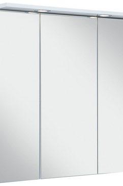 schildmeyer spiegelkast sps 700.1 spot breedte 70 cm, 3-deurs, 2 led-inbouwspotje, schakelaar--stekkerdoos, glasplateaus, made in germany wit