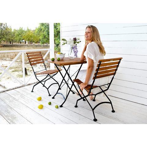 Tuinmeubelset Kasteeltuin, 3-dlg., 2 stoelen, tafel Ø 70 cm, staal/eucalyptushout