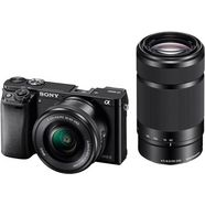 sony alpha ilce-6000y set systeemcamera, incl. 2 e-mount-objectieven (16-50mm  55-210mm), 24,3 mp zwart
