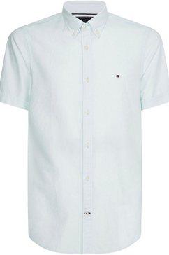 tommy hilfiger overhemd met korte mouwen slim co-li twill shirt groen