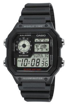 casio collection chronograaf »ae-1200wh-1avef« zwart