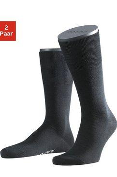 falke sokken airport met warme scheerwol (2 paar) zwart