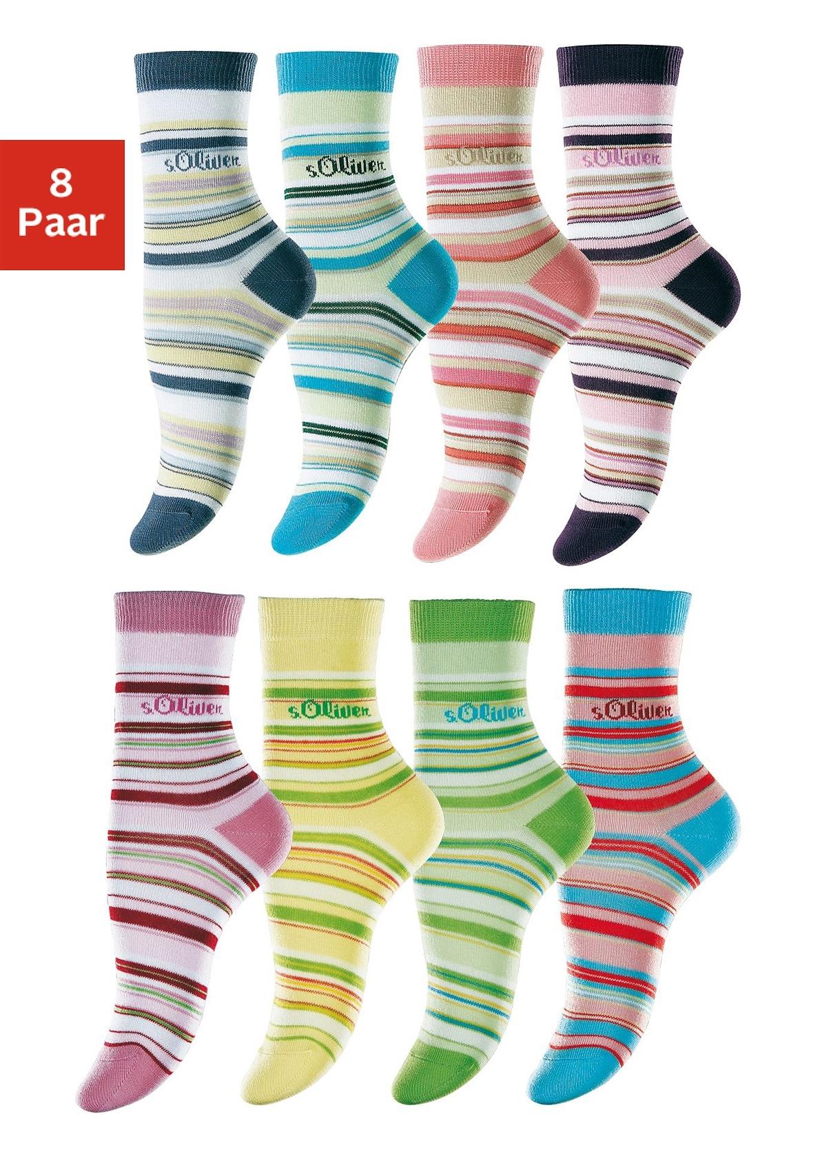 s.Oliver Gestreepte sokken, set van 8 paar voordelig en veilig online kopen