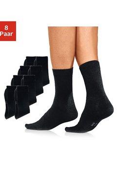 h.i.s basic sokken (set van 8 paar) met een hoog percentage katoen zwart