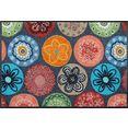 wash+dry by kleen-tex mat coralis inloopmat, geschikt voor binnen en buiten, wasbaar multicolor