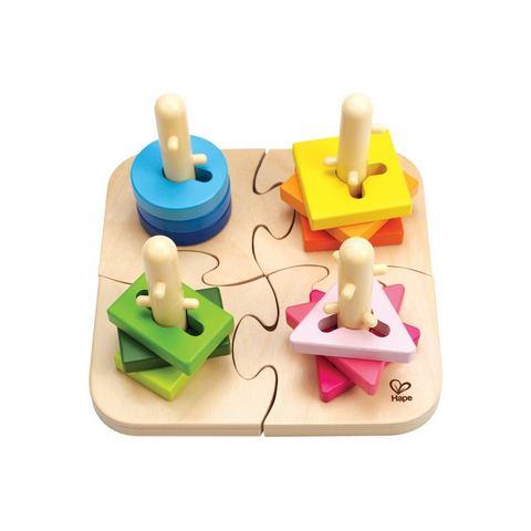 Houten puzzel- en sorteerplank