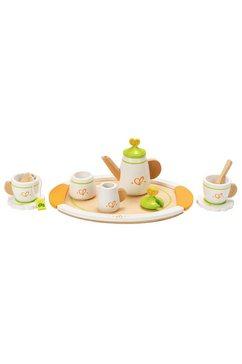 hape speelservies theeservies voor twee houten (set, 12-delig) wit