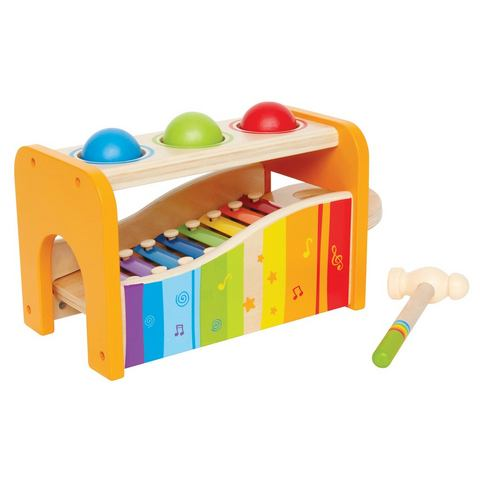 Houten speelbankje met xylofoon