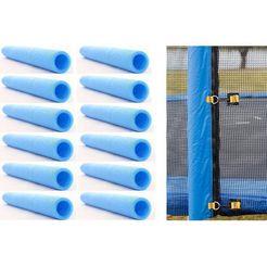 joka fit trampoline-randbeschermer schuim-omrandingsset, voor netstangen blauw