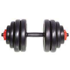 korte halter met halterschijvenset, »sp-ws-015-v«, sportplus, 15 kg zwart