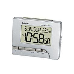 casio kwarts-wekker dq-747-8ef met thermometer (0 c°-+40 °c) zilver