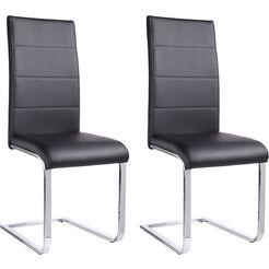 vrijdragende stoel josy bekleding in imitatieleer, verchroomd metalen frame (set, 2 stuks) zwart