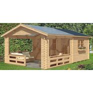 skanholz tuinhuisje »holmestrand (bxd: 380 x 610 cm)«, bxd: 420x650 cm, inclusief luifel met borstwering en vloer beige