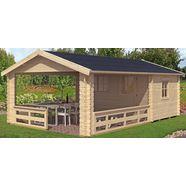 skanholz set: tuinhuisje »alicante 3 (bxd: 380 x 613 cm)«, bxd: 420x653 cm, inclusief luifel met borstwering en vloer beige