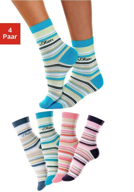 Gestreepte sokken, set van 4 paar, S.OLIVER