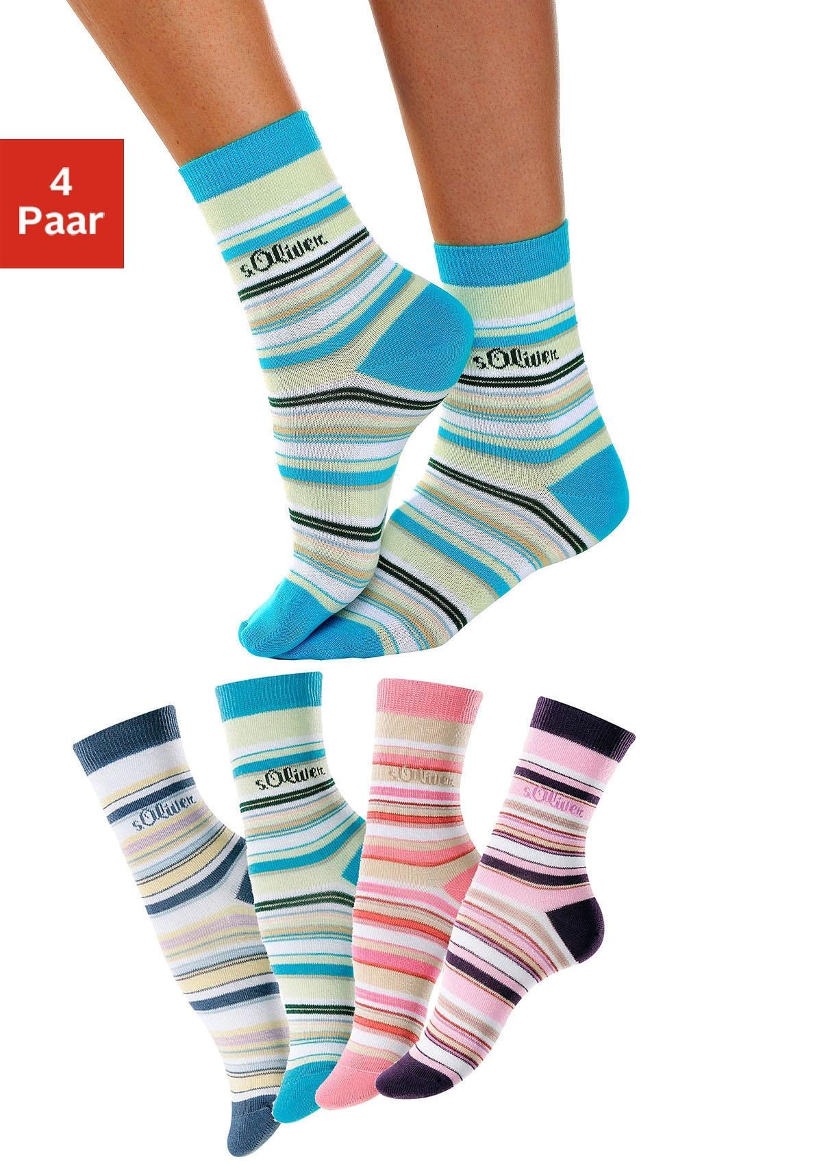s.Oliver RED LABEL Gestreepte sokken, set van 4 paar, S.OLIVER veilig op otto.nl kopen