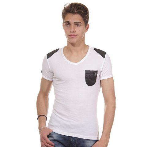 R-NEAL T-shirt met V-hals slim fit