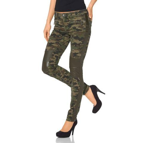 LAURA SCOTT Skinnybroek met camouflagemotief