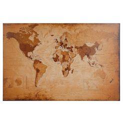 home affaire wanddecoratie wereldkaart - antiek 90-60 cm bruin