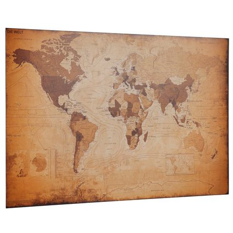 HOME AFFAIRE Artprint wereldkaart - antiek