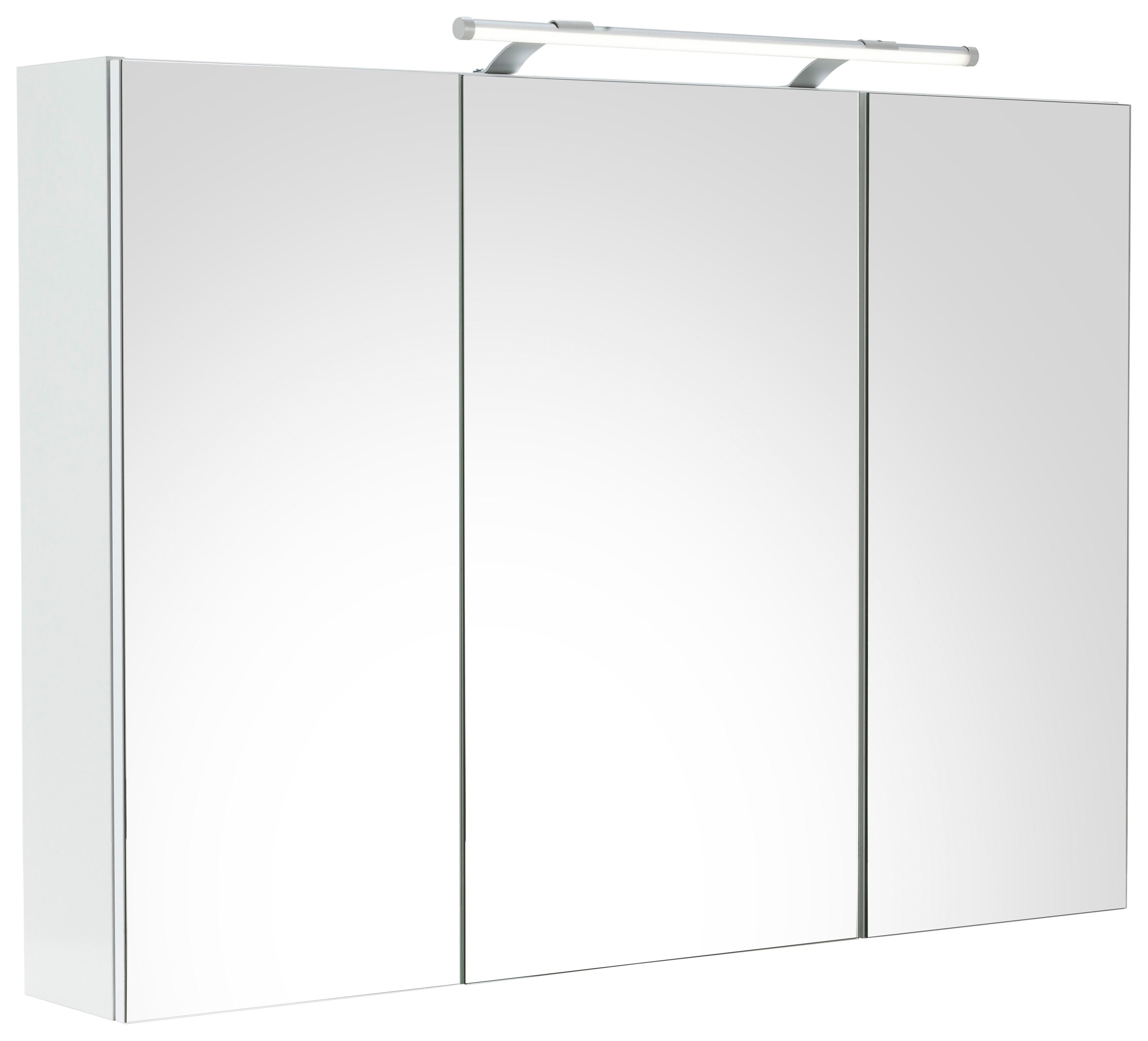 Schildmeyer spiegelkast Dorina Breedte 100 cm, 3-deurs, ledverlichting, schakelaar-/stekkerdoos, glasplateaus, Made in Germany nu online kopen bij OTTO