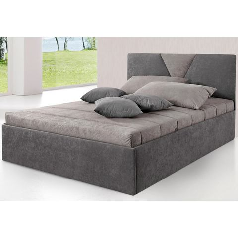 Bed met bekleding van micro velours Bedframe grijs Westfalia Polsterbetten 289358