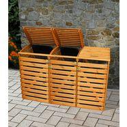 promadino kliko-ombouw voor 4x240 l van hout, bxdxh: 268x92x122 cm bruin