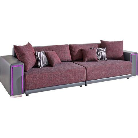 woonkamer extra groot bankstel grijs Megabank inclusief RGB LED verlichting 37