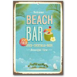 home affaire stalen schild »beach bar«, afm. (bxh): ca. 30x45 cm blauw