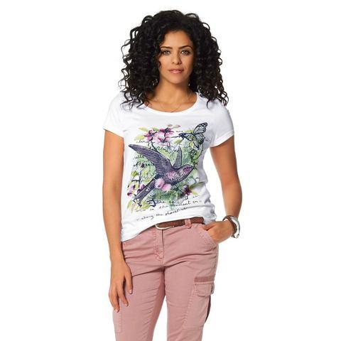 BOYSEN'S T-shirt met vogel- en bloemenprint