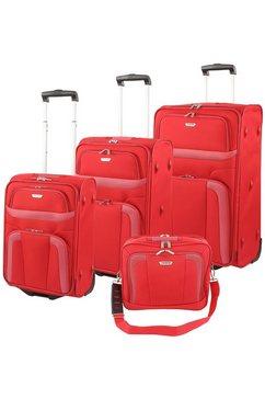 travelite trolley-set met tas orlando 4-dlg. rood