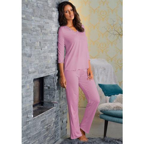 LASCANA Pyjama met kant