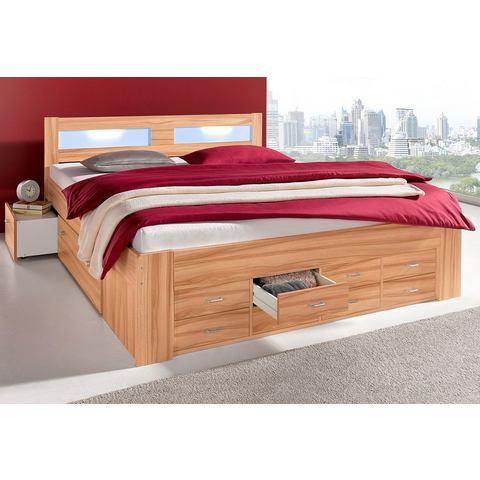 Bed met lade inzetten koudschuimmatras H2 bruin 615760