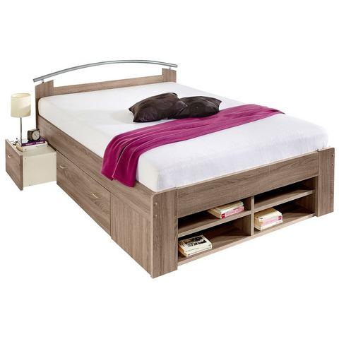 Bed met open kast Bonell binnenveringsmatras H2 beige 159225
