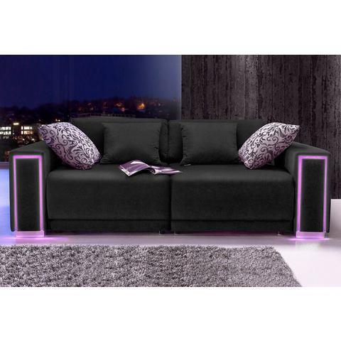 woonkamer extra groot bankstel zwart Megabank inclusief LED RGB verlichting 10