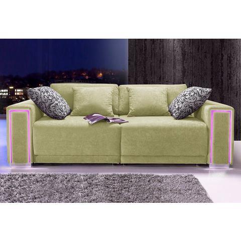 woonkamer extra groot bankstel groen Megabank inclusief LED RGB verlichting 61