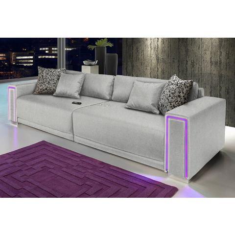 woonkamer extra groot bankstel zilver Megabank inclusief LED RGB verlichting 76