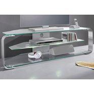 jahnke tv-meubel met 3 glasplateaus zilver