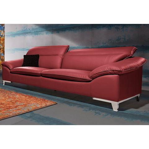 woonkamer driepersoons bankstel rood NatuurLEER COTTA in 3 bekledingskwaliteiten